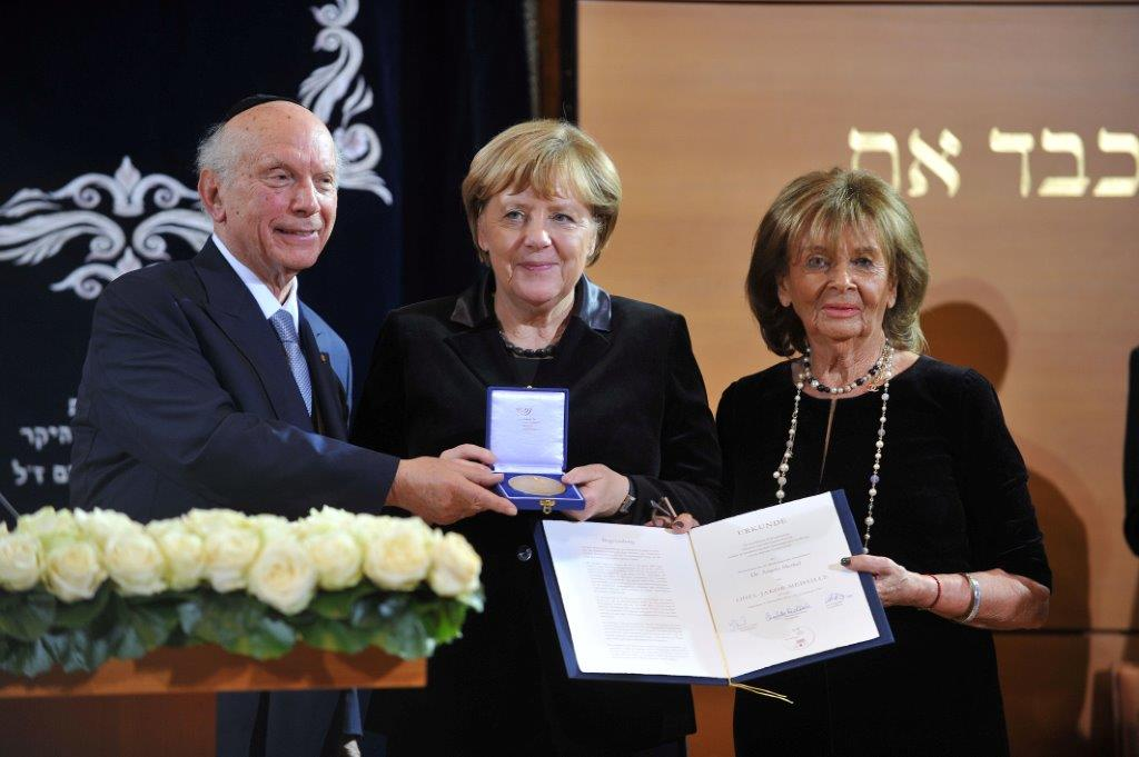 Kristallnacht Commemoration: Rabbi Schneier and German Chancellor Angela Merkel